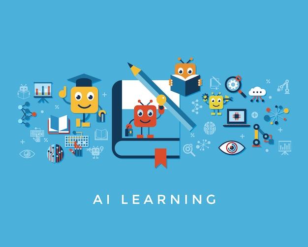 Inteligência artificial auto-aprendizagem coleção de ícones Vetor Premium