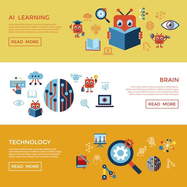 Inteligência artificial auto-aprendizagem coleção ícone Vetor Premium