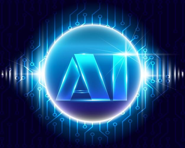 Inteligência artificial com tecnologia de símbolos de circuito Vetor Premium