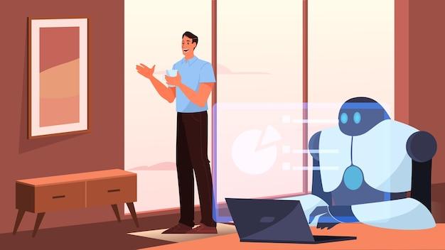 Inteligência artificial como parte da rotina humana. robô pessoal doméstico para assistência de pessoas. ai ajuda um empresário, o conceito de tecnologia do futuro. Vetor Premium
