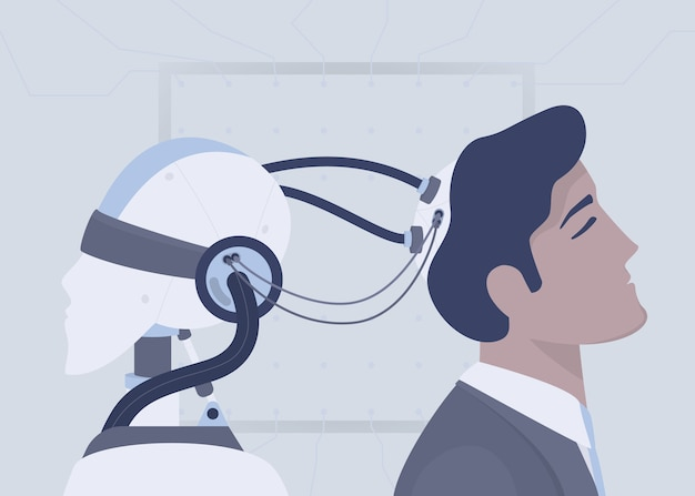 Inteligência artificial do robô conectada ao cérebro humano com fios. inteligência humana aumentada. conceito de tecnologia do futuro. ilustração Vetor Premium