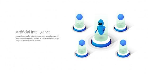 Inteligência artificial futurista isométrica Vetor Premium