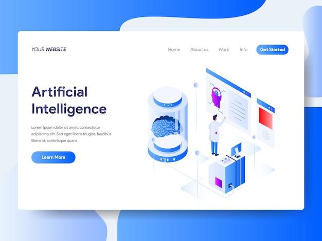 Inteligência artificial isométrica para a página do site Vetor Premium