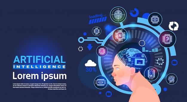 Inteligência artificial, macho, cabeça, ciber, cérebro, modernos, tecnologia, robôs, bandeira, com, espaço cópia Vetor Premium