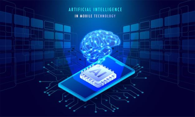 Inteligência artificial no conceito de tecnologia móvel. Vetor Premium