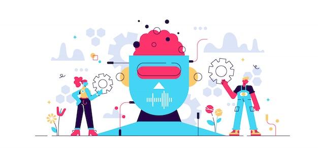 Inteligência artificial ou ilustração. pequeno conceito de pessoa de engenheiro de ti com trabalho na criação de robôs. tecnologia futurista na cabeça eletrônica moderna. cérebros do intelecto virtual. Vetor Premium