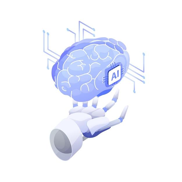 Inteligência artificial, robô inteligente, máquina consciente, tecnologia inovadora, inovação de alta tecnologia, pesquisa científica em cibernética. Vetor Premium