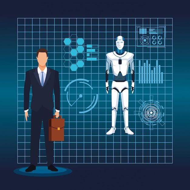 Inteligência artificial tecnologia homem e cyborg realidade virtual Vetor Premium
