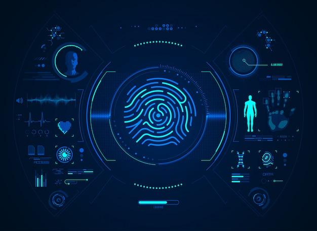 Interface biométrica de impressão digital Vetor Premium