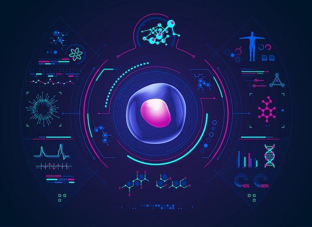 Interface científica para análise celular Vetor Premium