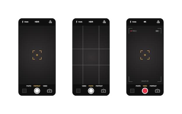 Interface da câmera do telefone. aplicativo de aplicativo móvel. gravação de fotos e vídeos. gráfico de ilustração. Vetor Premium