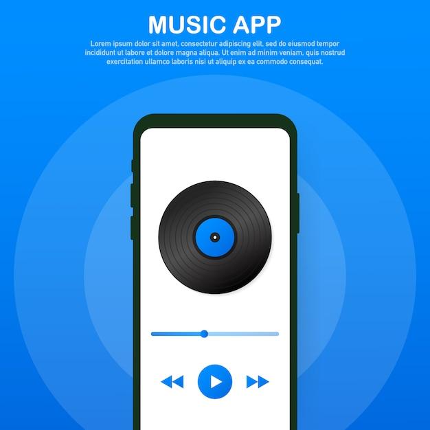 Interface de aplicativo móvel. reprodutor de música. aplicativo de música. ilustração vetorial. Vetor Premium