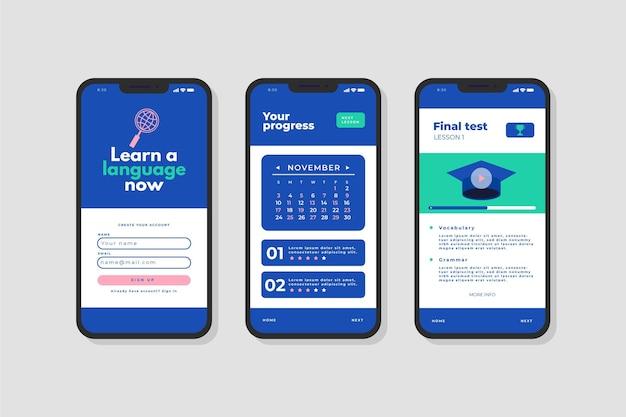 Interface de aplicativo para aprender um novo idioma Vetor grátis