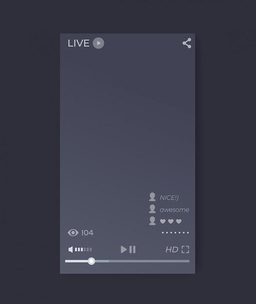 Interface de player de vídeo streaming ao vivo, aplicativo móvel, interface do usuário do vetor, orientação vertical Vetor Premium
