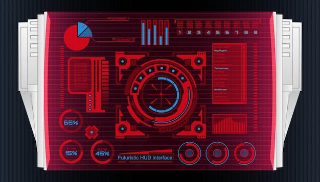 Interface de tecnologia futurista hud elementos de interface do usuário. Vetor Premium