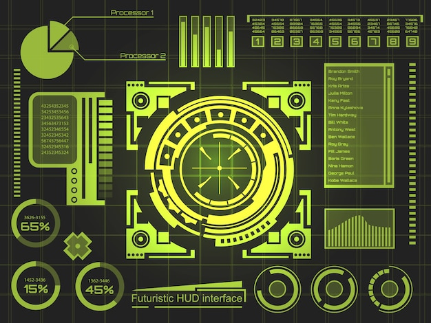 Interface de tecnologia futurista hud ui fundo. Vetor Premium