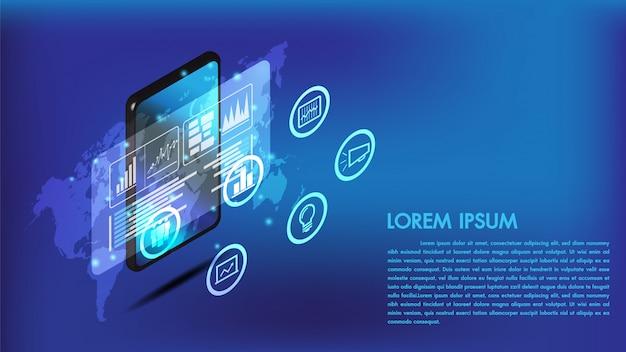 Interface de telefone inteligente isométrica ou tablet 3d Vetor Premium