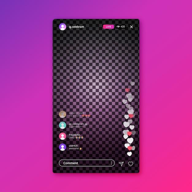 Interface de transmissão ao vivo do modelo do instagram Vetor grátis
