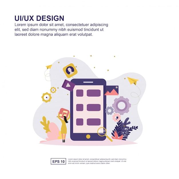 Interface de usuário conceito vector ilustração design plano para apresentação. Vetor Premium