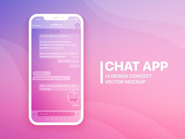 Interface de usuário de aplicativo de bate-papo móvel e mockup de vetor de conceito de ux Vetor Premium