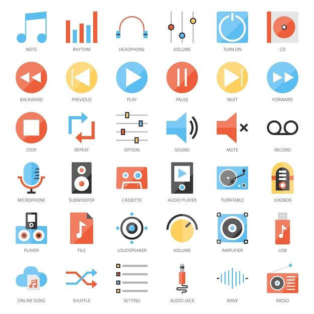 Interface de usuário de música Vetor Premium