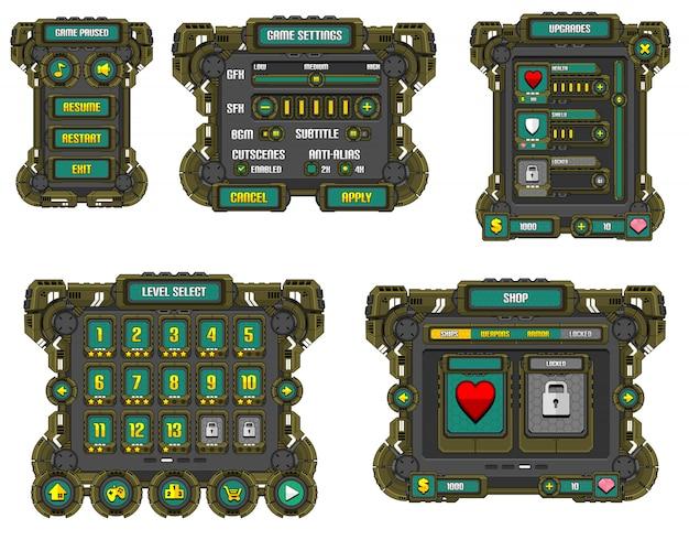 Interface de usuário do jogo de ficção científica Vetor Premium