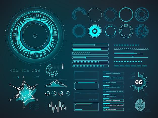Interface de usuário futurista hud. elementos do vetor infográfico Vetor Premium