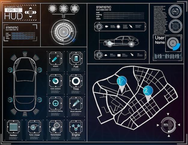 Interface de usuário futurista. hud ui. interface de usuário abstrata virtual toque gráfico. carros inf Vetor Premium