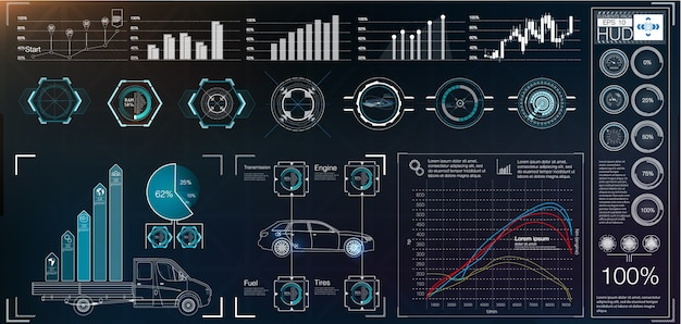 Interface de usuário futurista. hud ui. interface de usuário de toque abstrato. infográfico de carros. resumo da ciência. ilustração. Vetor Premium