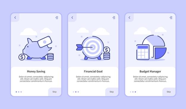 Interface de usuário moderna da tela de integração financeira modelo de interface do usuário ux para aplicativos móveis smartphone para economizar dinheiro, objetivo financeiro, gerente de orçamento com estilo simples Vetor Premium