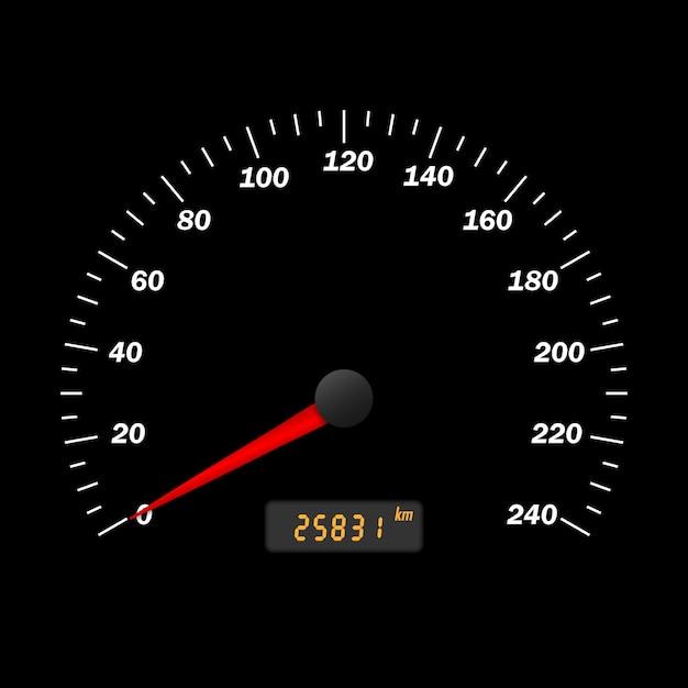 Interface de velocímetro de carro vector realista. painel do painel Vetor Premium