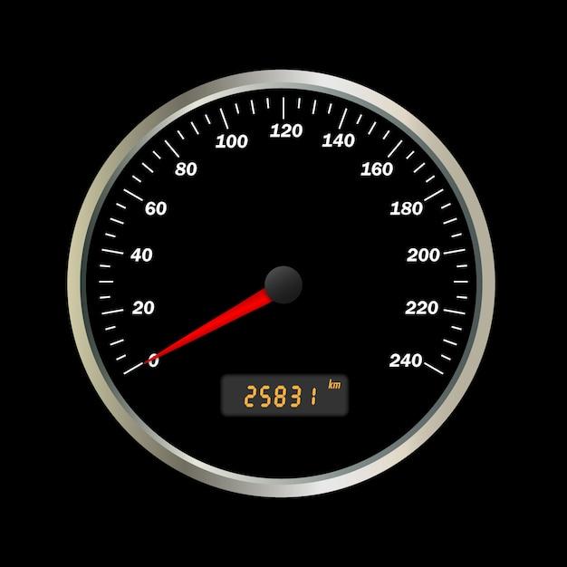 Interface de velocímetro de carro vector realista. Vetor Premium