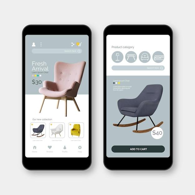 Interface do aplicativo de compras de móveis Vetor grátis