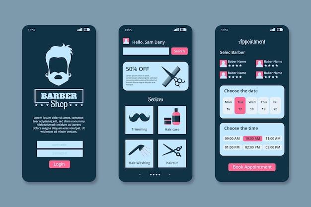 Interface do aplicativo de reserva de barbearia Vetor grátis