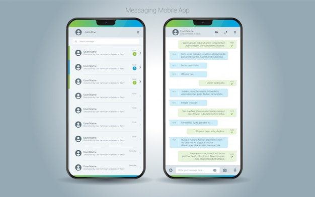 Interface do aplicativo móvel de mensagens Vetor Premium