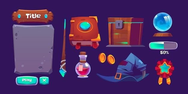 Interface do jogo mágico com livro de feitiço, varinha mágica e garrafa com poção Vetor grátis