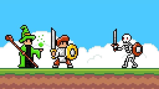 Interface do jogo pixel. bruxo e cavaleiro pixalated lutando, ataque monstro esqueleto com espada Vetor Premium