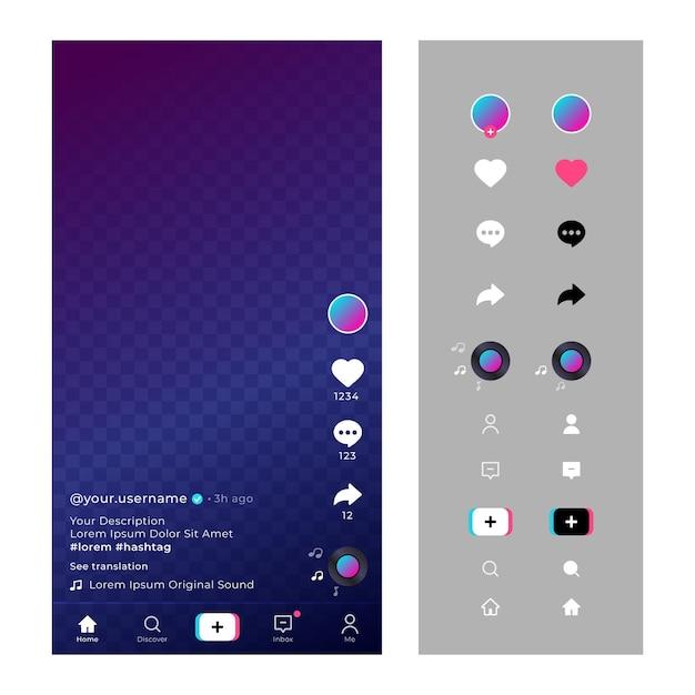 Interface do tiktok com ícones e bate-papo Vetor grátis