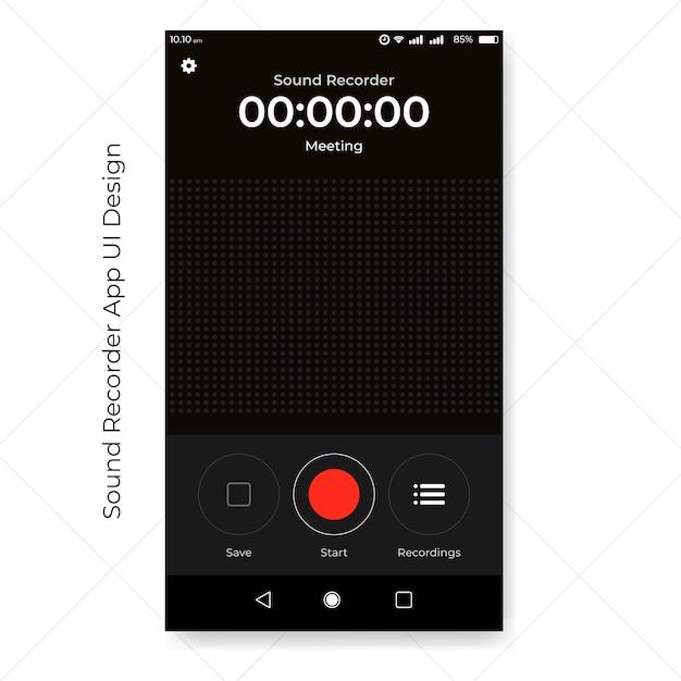Interface do usuário do aplicativo gravador de som Vetor Premium