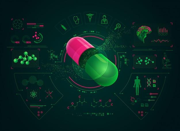 Interface farmacêutica Vetor Premium