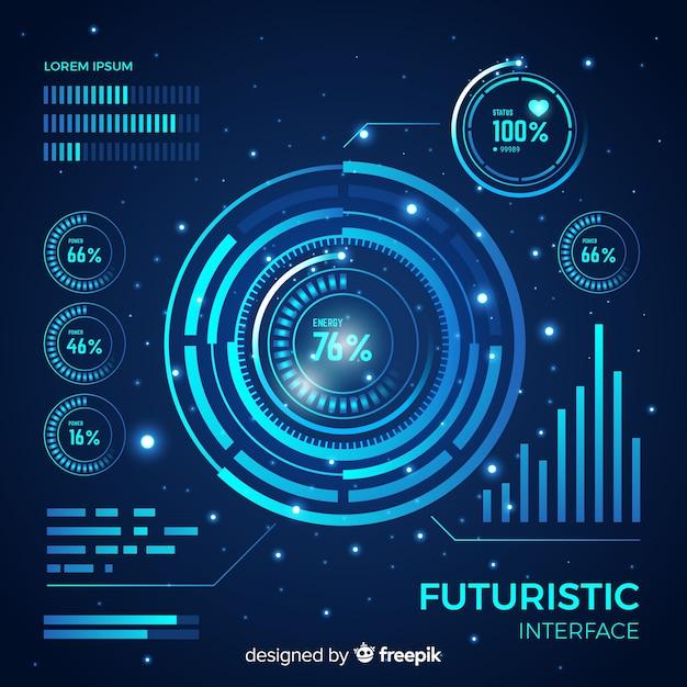 Interface hud futurista com estilo gradiente Vetor grátis