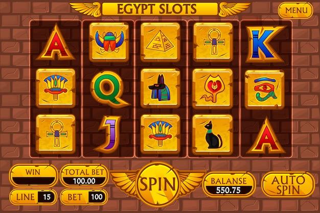 Interface principal do fundo egípcio e botões para o jogo de caça-níqueis de cassino, símbolos do egito Vetor Premium