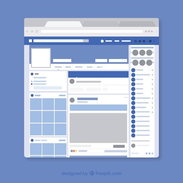 Interface web do facebook com design minimalista Vetor grátis