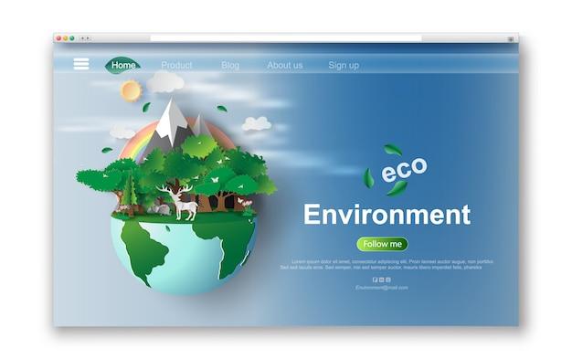 Interface web eco design. Vetor Premium