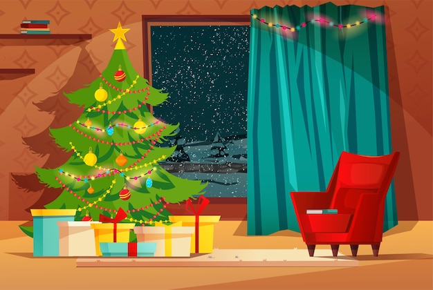 Interior aconchegante da sala de estar decorado para as férias de natal. Vetor Premium