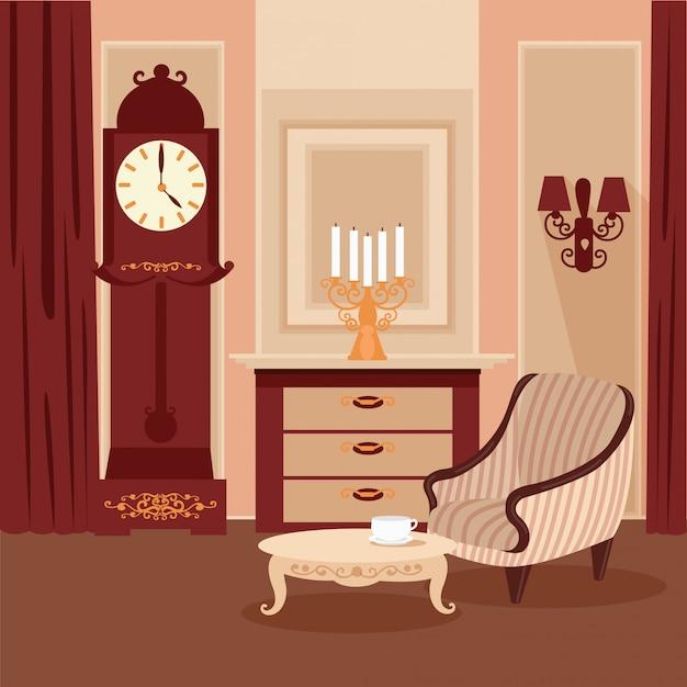 Interior clássico de sala de estar Vetor Premium