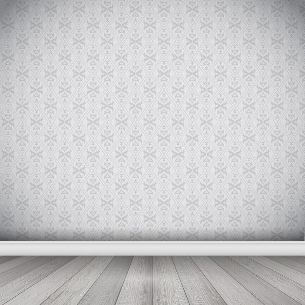 Interior com papel de parede do damasco e piso de madeira Vetor grátis