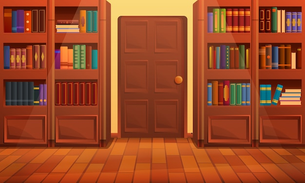 Interior da biblioteca dos desenhos animados, ilustração vetorial Vetor Premium