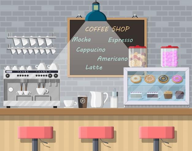 Interior da cafeteria, pub, café ou bar. Vetor Premium