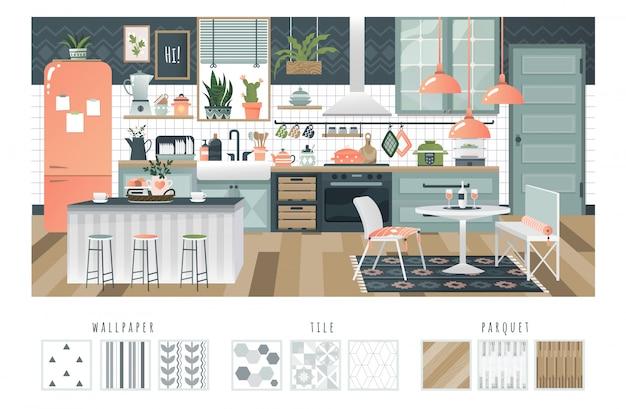 Interior da cozinha com ambiente acolhedor, layout confortável e aparelhos modernos, ilustração Vetor Premium
